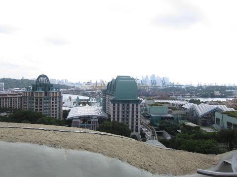 マーライオンの頭上から市街地を見る