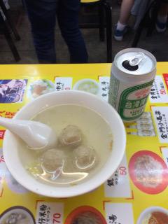 肉団子スープとビール