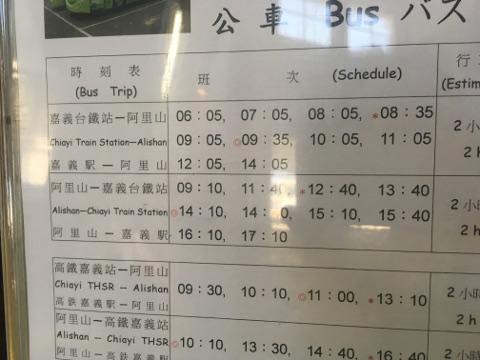 阿里山行きバスの時刻表