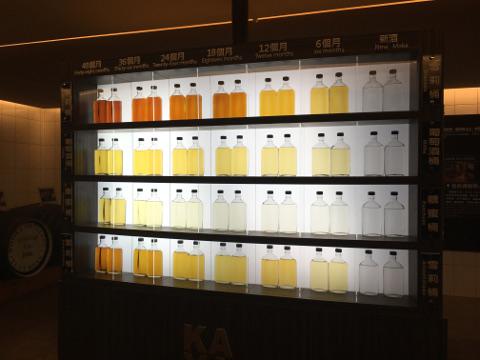 樽の種類と熟成期間の違いによる色の違い
