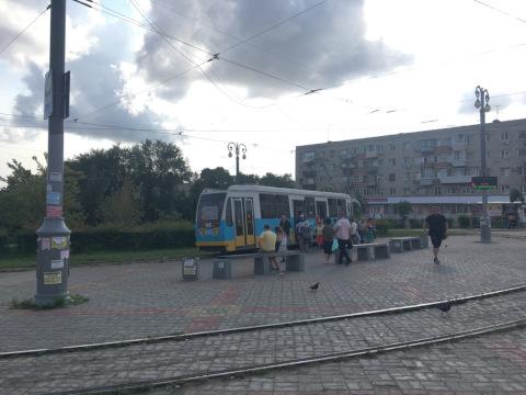 ハバロフスク駅前の路面電車