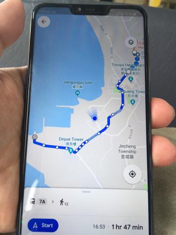 金門島中心部行きのバスルート